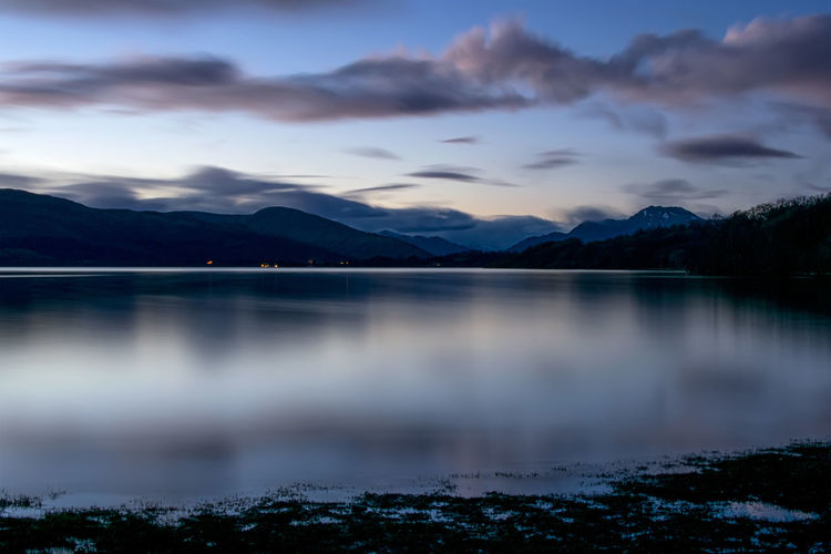 Loch Lomond at night Beach Beautiful Beauty In Nature Ben Lomond Cloud - Sky Evening Freshwater Highlands Lake Landscape Loch Lomond Long Exposure Mountain Mountain Range Nature No People Outdoors Reflection Scenics Scottish Sky Sunset Tranquil Scene Tranquility Water