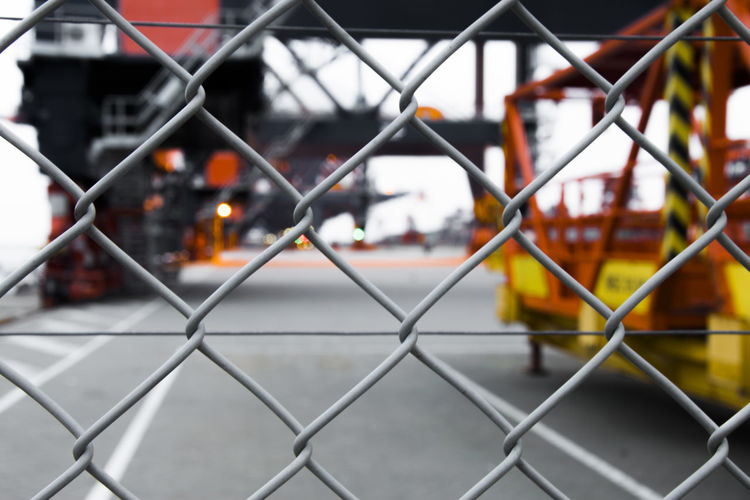 Chainlink fence in park