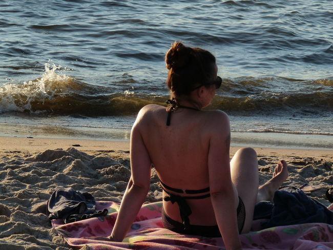 Dąbki 2018 Summertime Beach Woman Holidays Sun Sunbathe