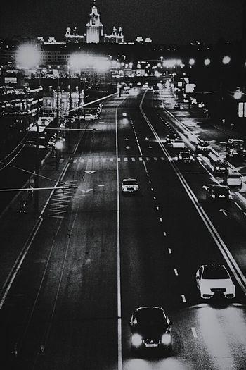 Moscow never sleep Night Nightphotography Blackandwhite Black & White Blackandwhite Photography Road Roadtrip Cars Moscow Moscow City Москва Россия Ночь чернобелое фотография мир Машина светотень запечатления World