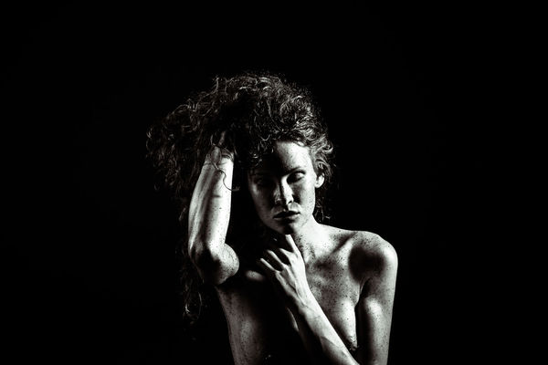 Black And White Black Background Confidence  Contemplation Dark Emotions EyeEm Gallery Feelings Female Female Model Front View Grunge Headshot Human Body Part Human Face Leisure Activity Lifestyles Mental Portrait Serious Strong Studio Shot Women Young Adult Fine Art Photography