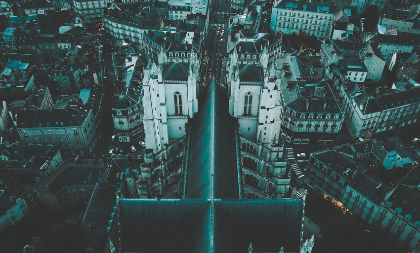 Cathedral Nantes Aerial View Architecture Building Building Exterior Built Structure City City Life Cityscape Connection Day Full Frame High Angle View Mode Of Transportation No People Outdoors Street Transportation Travel