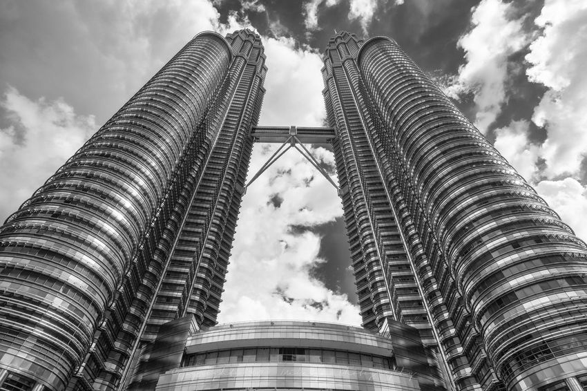 Architecture Building Exterior Built Structure Cloud - Sky Curves And Lines Day Enjoying The View Eyem Gallery Eyem Singapore For Love Of Photography Low Angle View Magnificent Malaysia Malaysia Truly Asia Meatllic No People Outdoors Petronas Twin Towers Singapore Photographer Sky Taking Photos Tall Tourist Attraction  Tourist Destination WOW