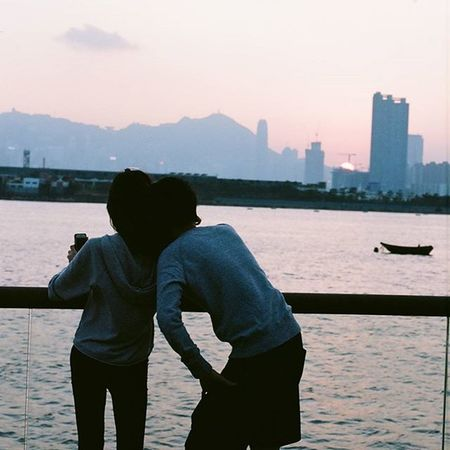 A couple Selfie Minoltax700 Minolta3570f2 Kodakektar100 Sunset