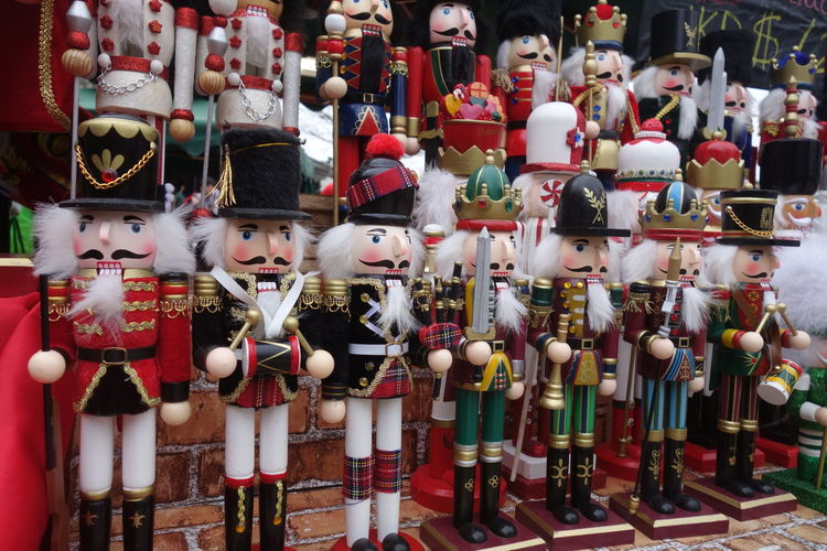 Close-up of toy soldiers on display at store
