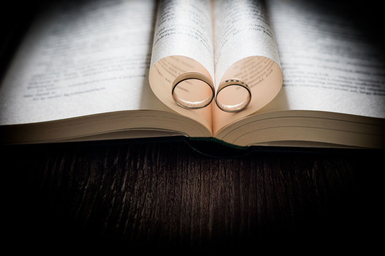 High angle view of wedding rings amidst folded pages as heart shape on book