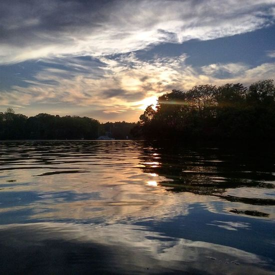 Sunset And Clouds  Beautiful Colors Water Reflections Sun Rays No People On The Water Kayaking In Nature My Backyard Oasis California MD USA