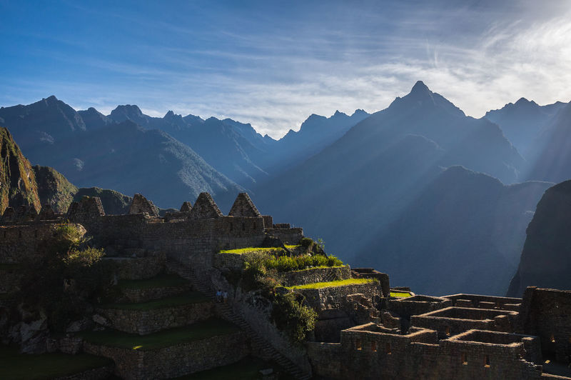 Scenic View Of Mountains At Machu Picchu On Sunny Day