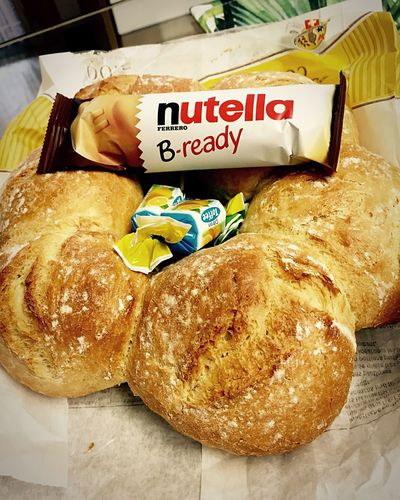 Nutella with Bread = ❤️🇮🇹 Food Food And Drink Bread Indoors  Croissant No People Freshness Close-up Ready-to-eat Day Nutella EyeEm Selects Yummy Italy