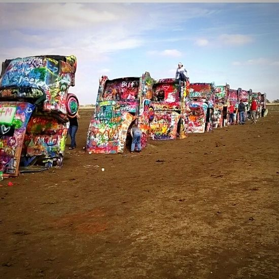 Cars Texas Colorful Spraypaint Art Artistic Amarillo, TX Dirt Sky Clouds Old Lines People Having Fun