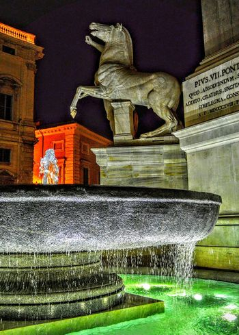 """Fire Water"" - Fontana Dei Dioscuri - Roma Rome Roma Photobydperry No People Night Sculpture Statue Fountain Fountain_collection Italy Horse Sculpture Quirinale Night Photography Nightphotography"