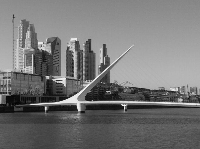 B&w Puente De La Mujer Bridge City