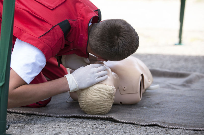First aid exercise CPR  CPR Training Demonstrating First Aid First Aid Training Instructor Learning Listening Paramedic Practice Teaching Ambulance Staff Cardiopulmonary Resuscitation Course Cpr Dummy Education Emergency Services First Aid Exercise Health Help Procedure Rescue Saving