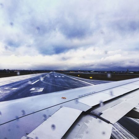 Sky Transportation Cloud - Sky Mode Of Transport Airplane Airport No People Day Nature Air Vehicle Cold Temperature Scenics Outdoors Airport Runway Runway Airplane Wing Iphonephotography