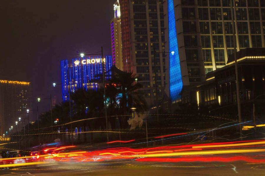 A busy city of Taipa. 😍 Night Illuminated City Building Exterior Architecture Long Exposure Light Trail Cityscape Skyscraper Igniting Outdoors City Life Motion Speed No People Urban Skyline