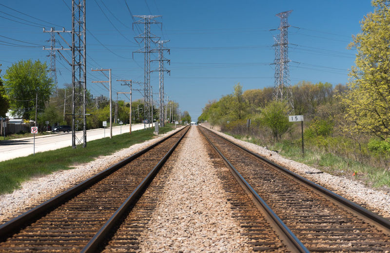 Cable Clear Sky Day Diminishing Perspective Electricity  Electricity Pylon Nature No People Outdoors Parallel Power Line  Power Supply Rail Transportation Railroad Railroad Tie Railroad Track Sky The Way Forward Transportation Tree