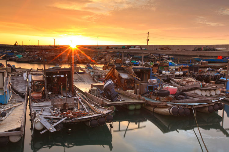 EyeEmNewHere Yunlin County, Kouhu, Fishing Port Day Nature Nautical Vessel No People Orange Color Outdoors Sky Sun Sunlight Sunset
