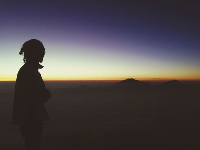That's Me Enjoying Life Traveler Mountain View Mountain Nice View Beautiful Nature Waiting For The Sunrise INDONESIA Silhouette Soft