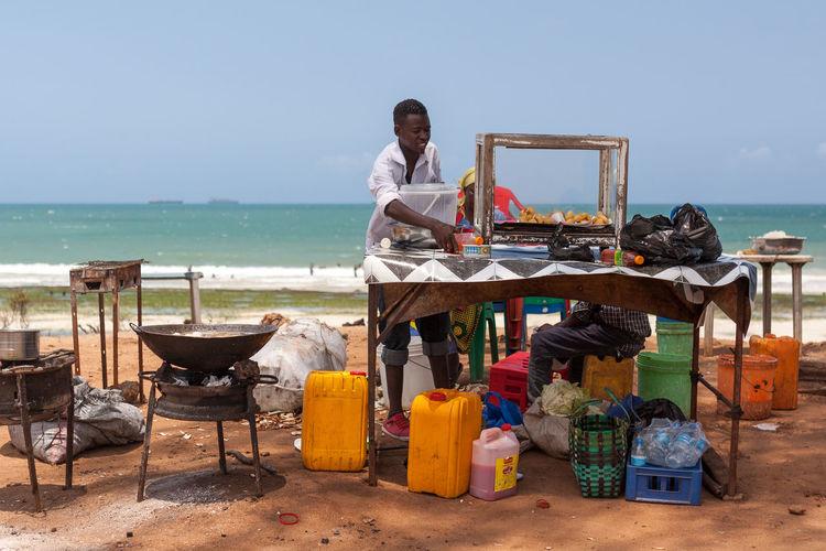 Local food Dar Es Salaam Frying Tanzania Africa Beach Deepfried Food Local Food Restaurant Sea