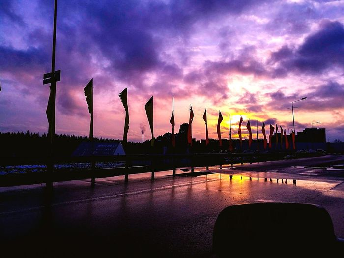 Sunset Flags In The Wind  Winter Russia First Eyeem Photo
