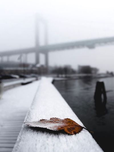 Close-up of snow on bridge over river against sky