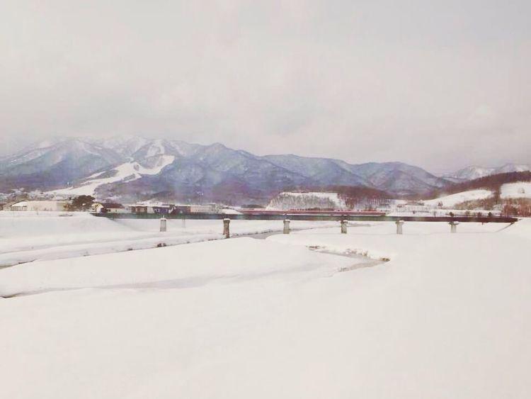 Mountains Snow Bridge Lake #view