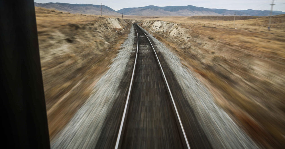 Blurred Motion View Of Railroad Tracks