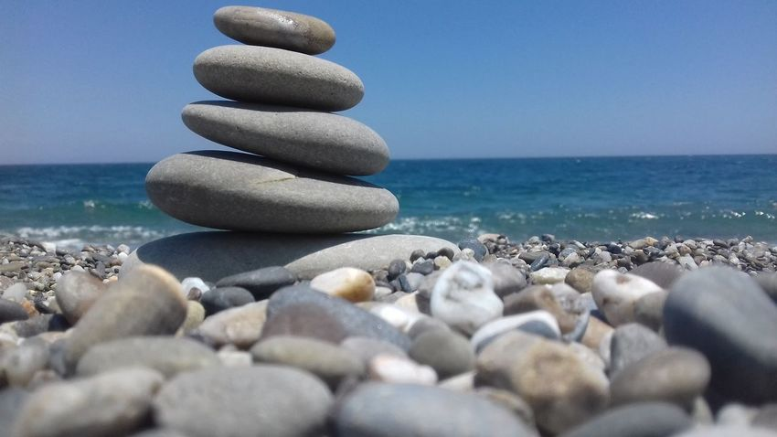 Simply the beauty of the sea Water Sea Beach Wave Stack Pebble Balance Rock - Object Zen-like Horizon Over Water First Eyeem Photo