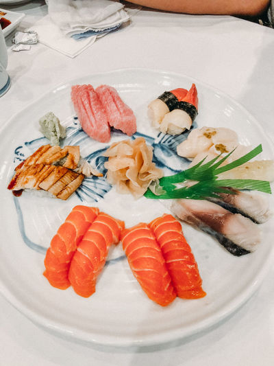 Animal Asian Food Close-up Fish Food Food And Drink Food Styling Freshness Garnish Healthy Eating Indoors  Japanese Food No People Plate Ready-to-eat Rice Salmon - Seafood Sashimi  Seafood Serving Dish Serving Size Still Life Sushi Vertebrate Wellbeing