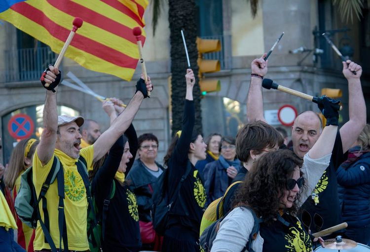 Republica Catalana Rally Catalonia Is Not Spain Catalonia Group Of People Crowd Event Celebration Men Women The Troublemakers Large Group Of People Real People Togetherness City Arms Raised The Photojournalist - 2018 EyeEm Awards
