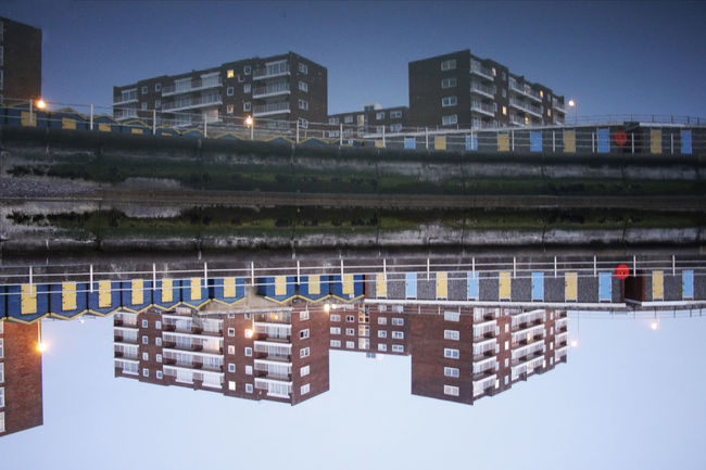 Apartment Architecture Blue Building Built Structure Calm Canon Canon 700D Canonphotography City Life EOS Long Exposure Longexposure Longexposurephotography Night No People Reflection Reflections In The Water Residential District Rotated Sea Seafront Sigma Sigma Lens Sky