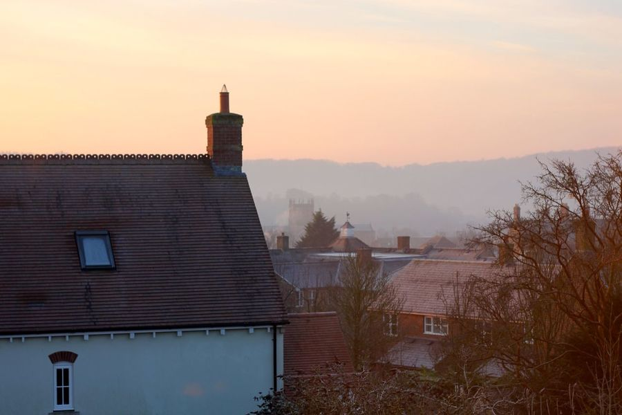 foggy morning in english country village Architecture Beauty In Nature Building Exterior Built Structure Chimney Day Factory House Nature No People Outdoors Sky Smoke Stack Sunset Tiled Roof  Tree Colour Your Horizn