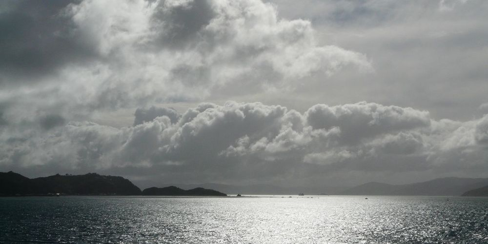 Beauty In Nature Calm Cloud Cloud - Sky Cloudporn Cloudy Day Ferry Crossing Idyllic Marlborough Sounds NZ Nature New Zealand Scenery No People Non-urban Scene Outdoors Overcast Remote Rippled Scenics Sea Silhouette Sky Tranquil Scene Tranquility Water