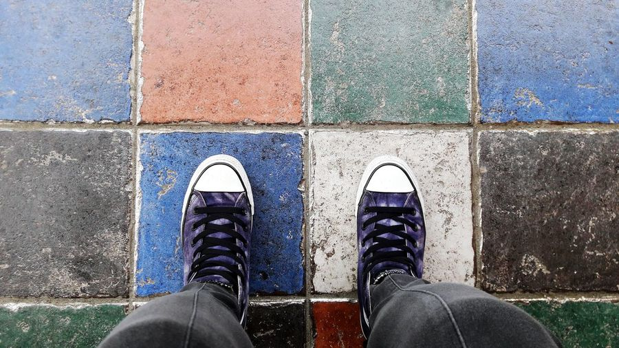 Footwear Footshoot Converse Shot From Above  Colorful Tiles