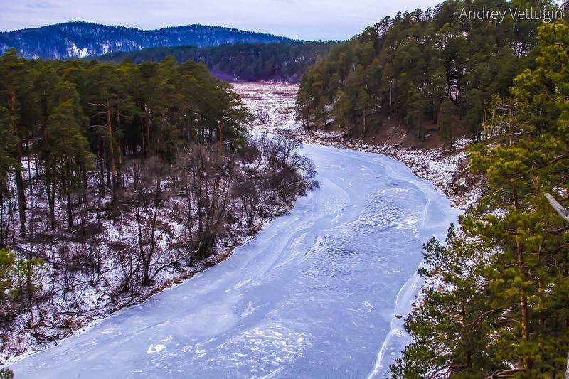Река Ай, Южный Урал, поселок городского типа Куса урал горы лед Куса Природа зима южный урал ай река