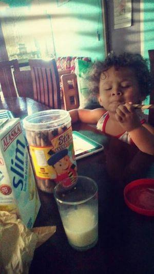 Always love to have breakfast with me. My Nephew ♥ Stick-o Breakfast ♥ Freshmilk Lovehim