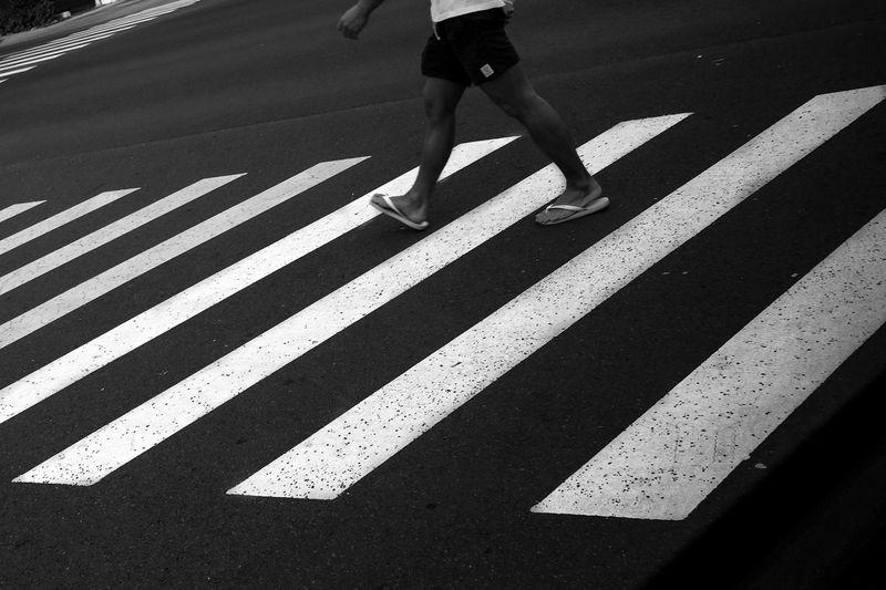 perfect day for a walk Black And White Photography Black And White Street Photography Sports Clothing Women City Road Road Marking Zebra Crossing Crosswalk Crossing White Line Pedestrian Roadways