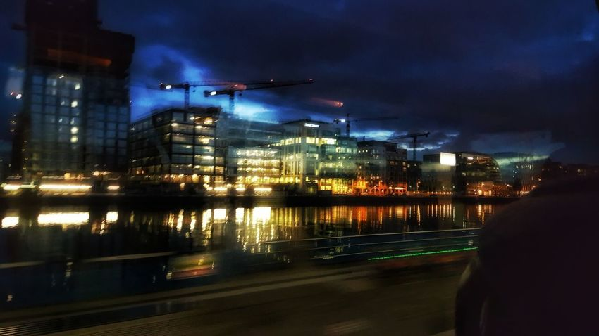 Bus View Night Illuminated Reflection City Dublin, Ireland Bus View Cityscape Urban Skyline Water Nightlife Sky No People Architecture Building Exterior Transportation Travel Destinations Mobility In Mega Cities
