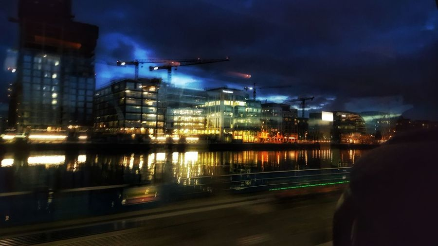 Bus View Night Illuminated Reflection City Dublin, Ireland Bus View Cityscape Urban Skyline Water Nightlife Sky No People Architecture Building Exterior Transportation Travel Destinations Mobility In Mega Cities Humanity Meets Technology