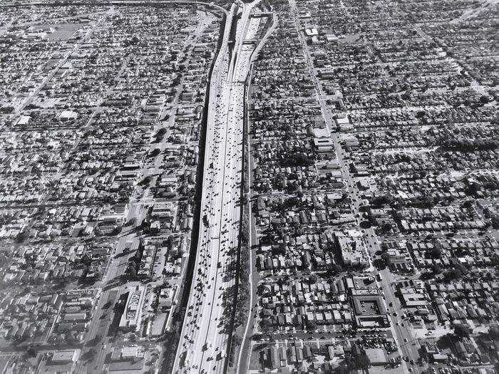 Los Angeles, California California Interstate Interstate 110 Street Highway Urban Aerial Shot Traffic City Vermont Vista Blackandwhite