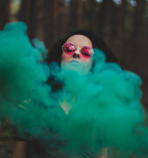 Fashion Getty Images Premium Collection Glasses Green Pink Smoke Trend Setting  Amazing Blue Colorful Female Forest Forst Influence Lifestyles Model Mood Moody Portrait Posing Sunglasses Week On Eyeem Yellow Inner Power