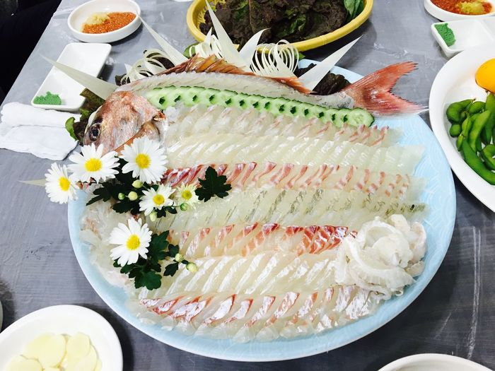 Korea Food Raw Fish Sliced Raw Fish Yummy Delicious