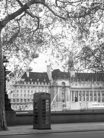 Black And White City EyeEm LOST IN London London No People Phone Booth River Themes Travel Destinations Big Eye Postcode Postcards