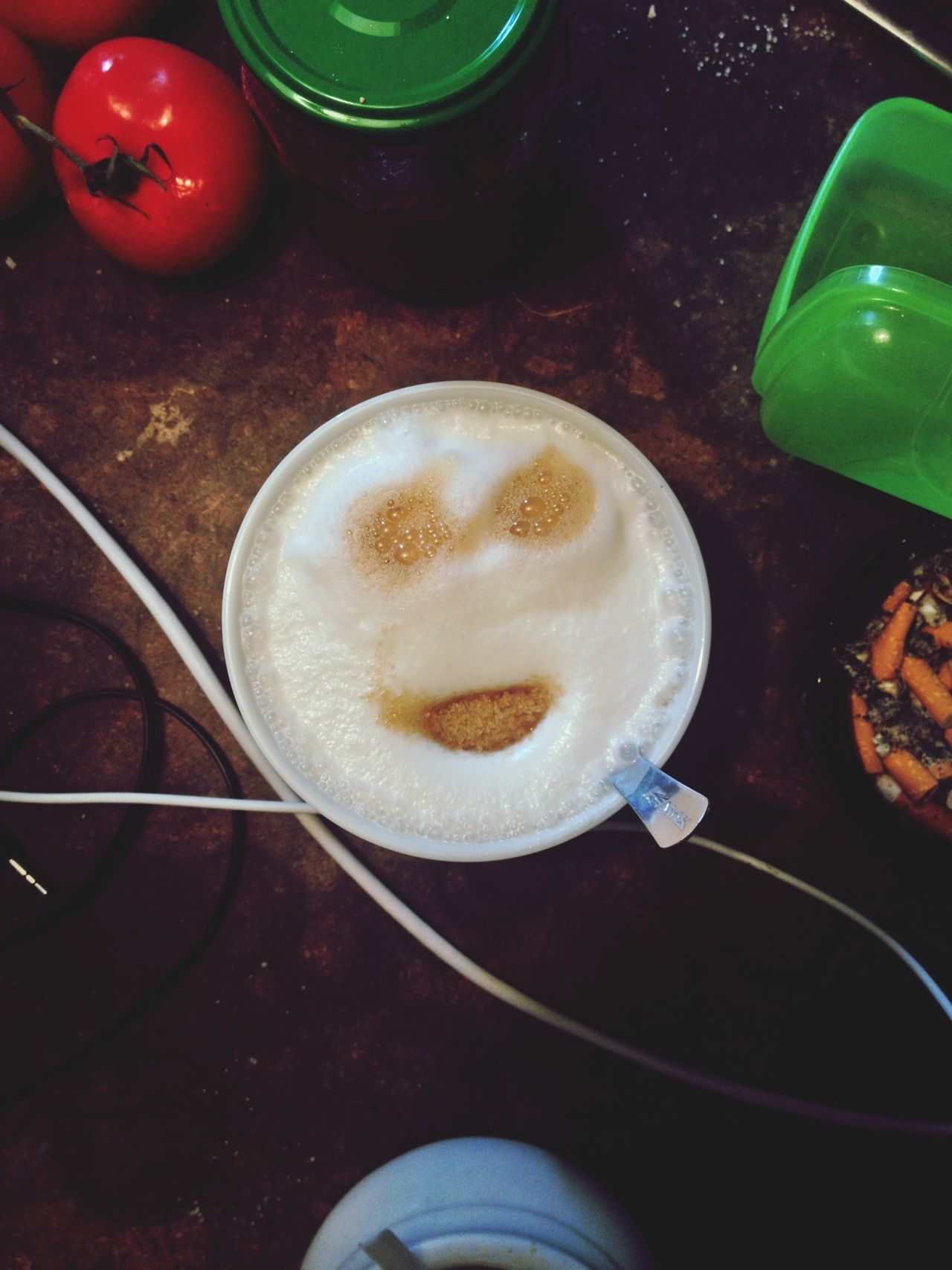 High angle view of coffee with human face