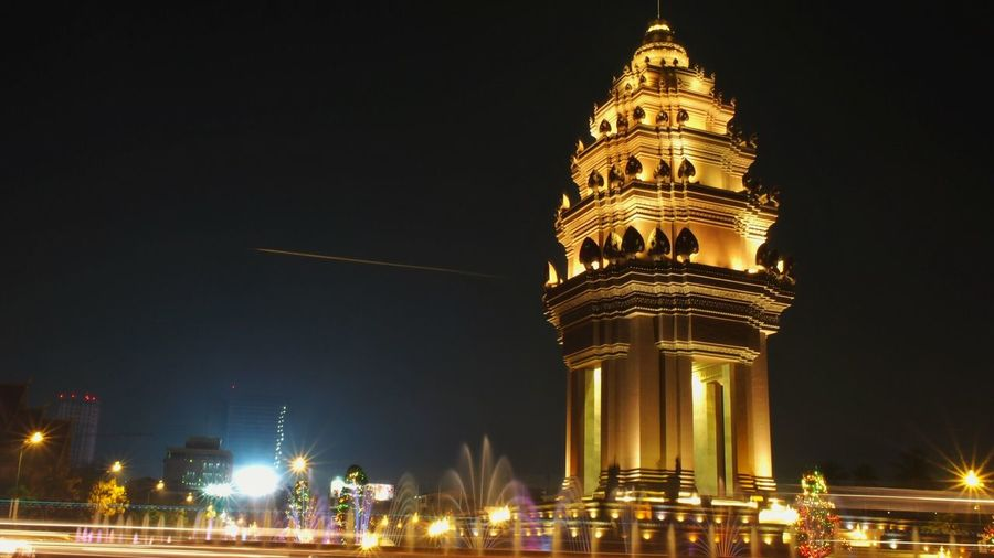 Streaking light Monument Independence Independence Monument Cambodia Night Illuminated Building Exterior Architecture Built Structure Sky Travel Destinations Tower Tourism City Low Angle View Travel Skyscraper