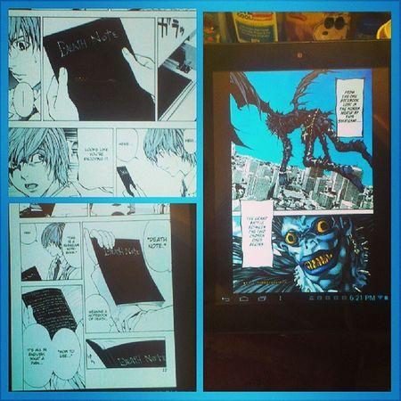 I'm reading #deathnote again. #manga Manga Anime Otaku L DeathNote Shinigami Ryuk Yagamilight