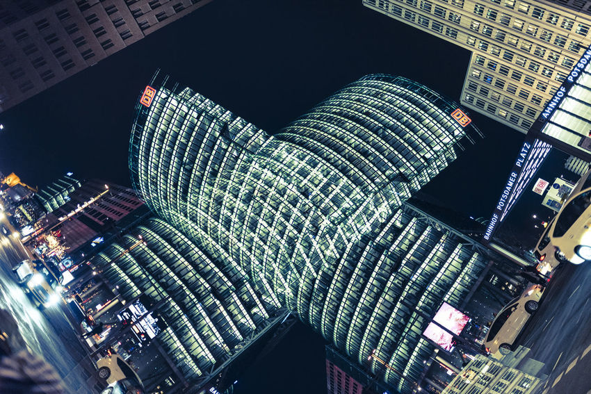 x Art is Everywhere Berlin Deutsche Bahn Double Exposure Film Festival Sony Center Architecture Berlinale Berlinale 2018 Building Exterior Illuminated Low Angle View Streetphotography Tourism Mobility In Mega Cities Colour Your Horizn