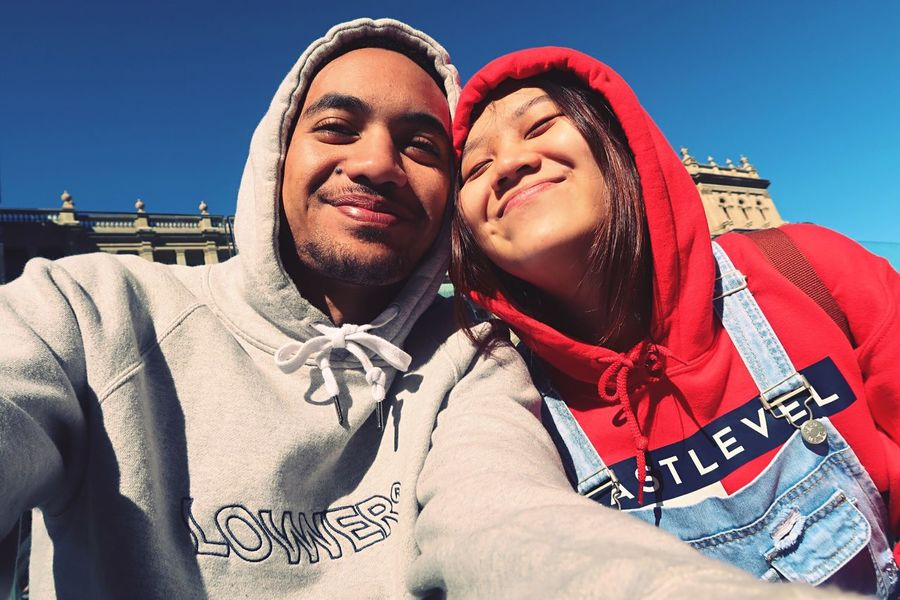 Love Togetherness Two People Bonding People Self Portrait Canonphotography Canong7xmarkii EyeEmNewHere Couple - Relationship Real People Young Women Day Outdoors Young Adult Lifestyles Young Men Portrait Happiness Smiling Men Clear Sky Building Exterior Sky Close-up