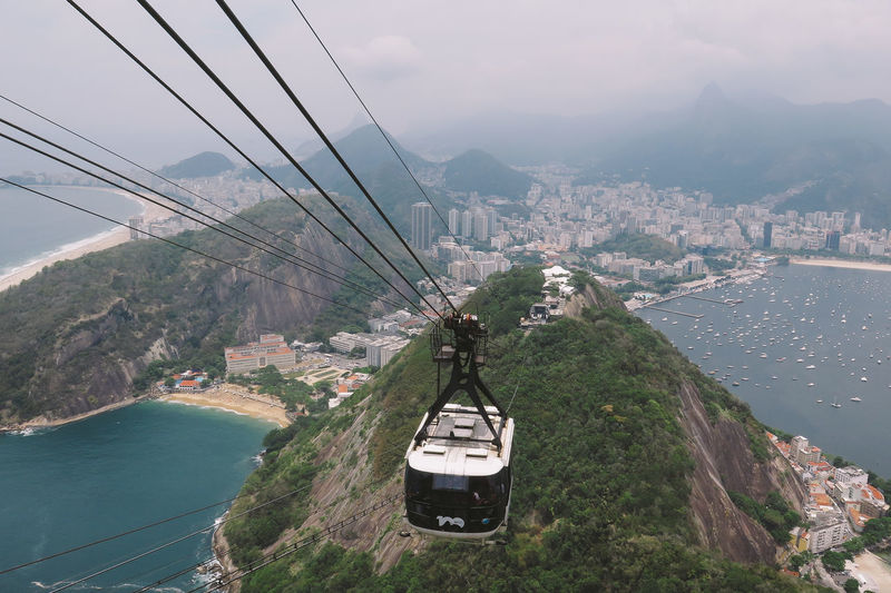 Morro Pan de Azúcar Aerial View Beauty In Nature Cable Connection Day Landscape Mode Of Transport Mountain Mountain Range Nature Outdoors Overhead Cable Car Sky Tranquility Transportation Travel Destinations Water