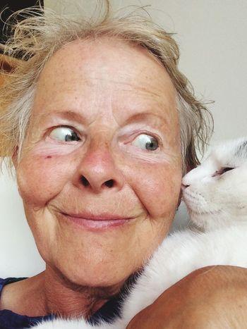 Portrait s Senior Adult Senior Women Cat Love Pets Mature Women Mature Adult Looking Sideways Domestic Animals Headshot Human Face Happiness Smiling